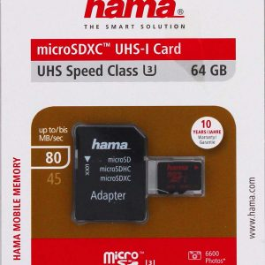 SD Card Memory Storage HAMA 64GB