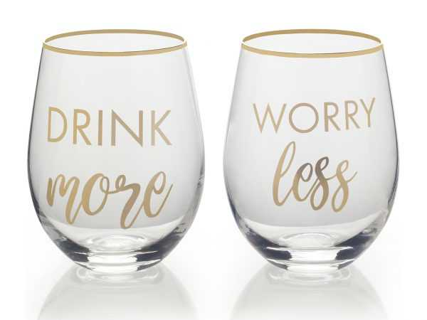 Stemless Wine Glass Funny Text Mikasa Cheers