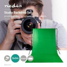 Photo Studio Backdrop Set Tripods Green 3 meter Nedis
