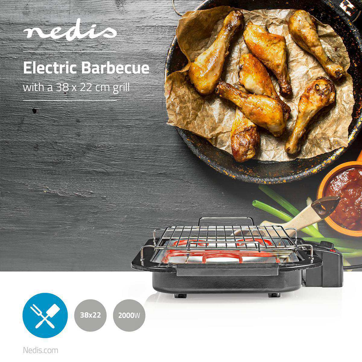 Table BBQ Barbecue Electric Grill Nedis