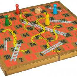 Snakes Ladders Wooden boardgame Professor Puzzle