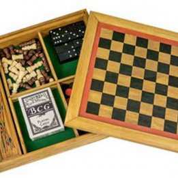 Six Wooden boardgame Set Professor Puzzle