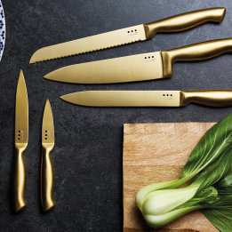 Brass Copper Colour Kitchen Knife Set with Block MasterClass